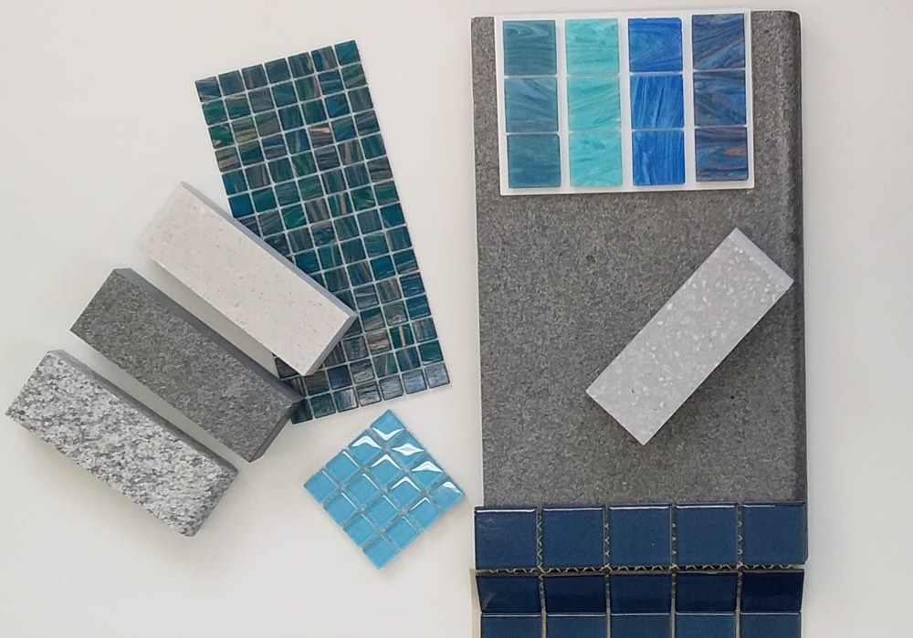 Swimming Pool Tiles in every colour cyan purple white blue turquoise and concrete pavers with different textures - Oasis Pools Tiles and Copings